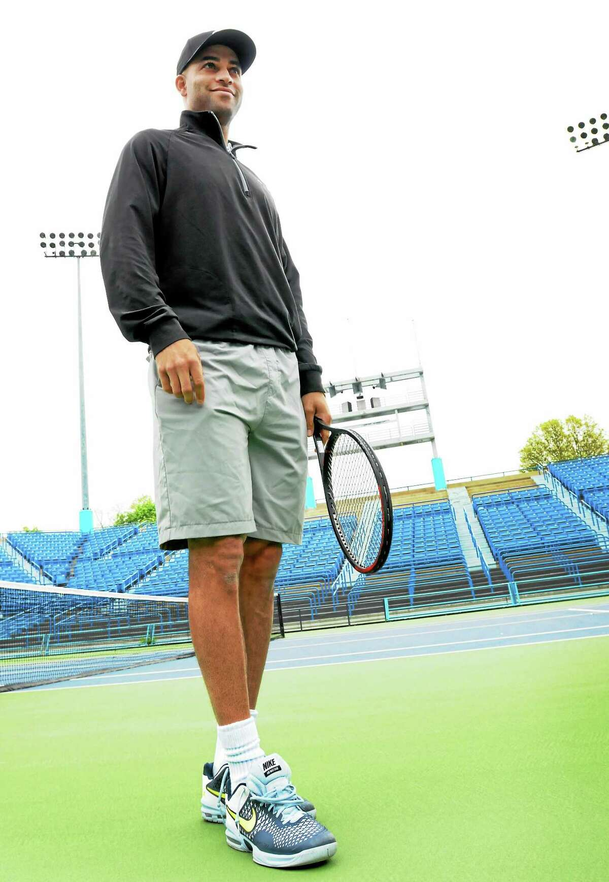 James Blake, a two-time New Haven Open champion and former top-five player, helped lead the 13th annual New Haven Open Free Lesson on Thursday at Yale's Cullman Center.