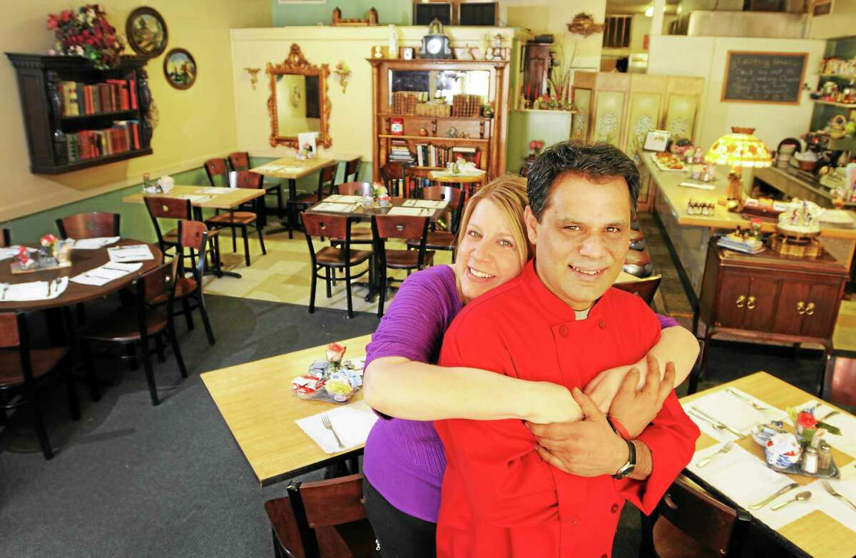 """Michelle Lebel and her husband, Amer, owners of The Corner restaurant on River Street in Milford, which will be featured on the Cooking Channel show """"Road Trip with G. Garvin"""" May 21."""