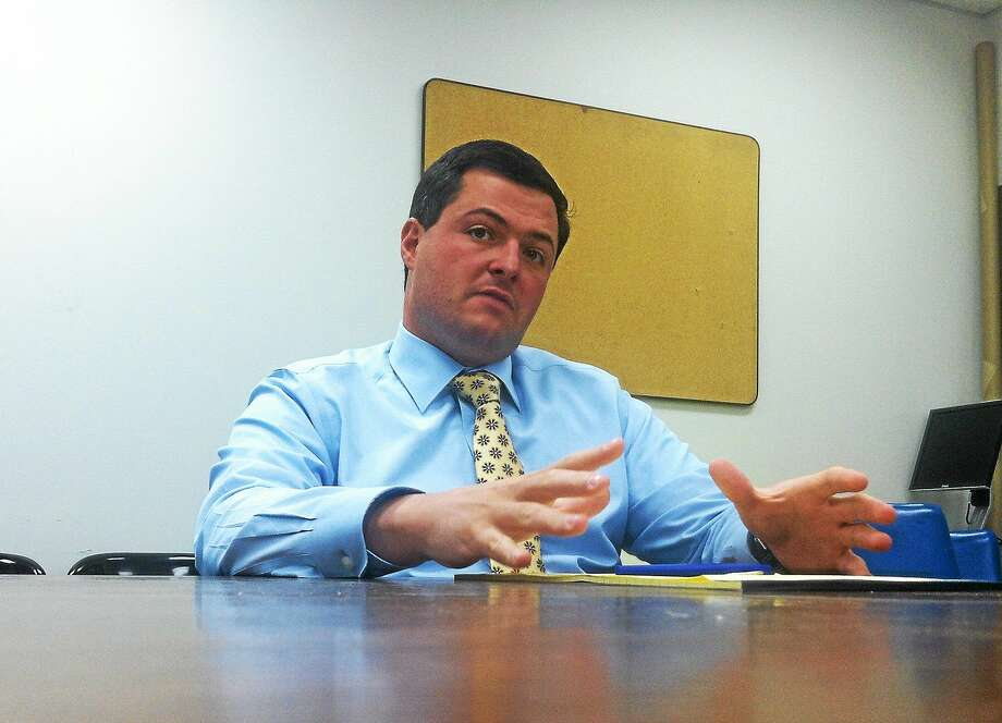 Republican state treasurer candidate Timothy Herbst, who also is first selectman of Trumbull, makes a point to the New Haven Register editorial board. Photo: NEW HAVEN REGISTER