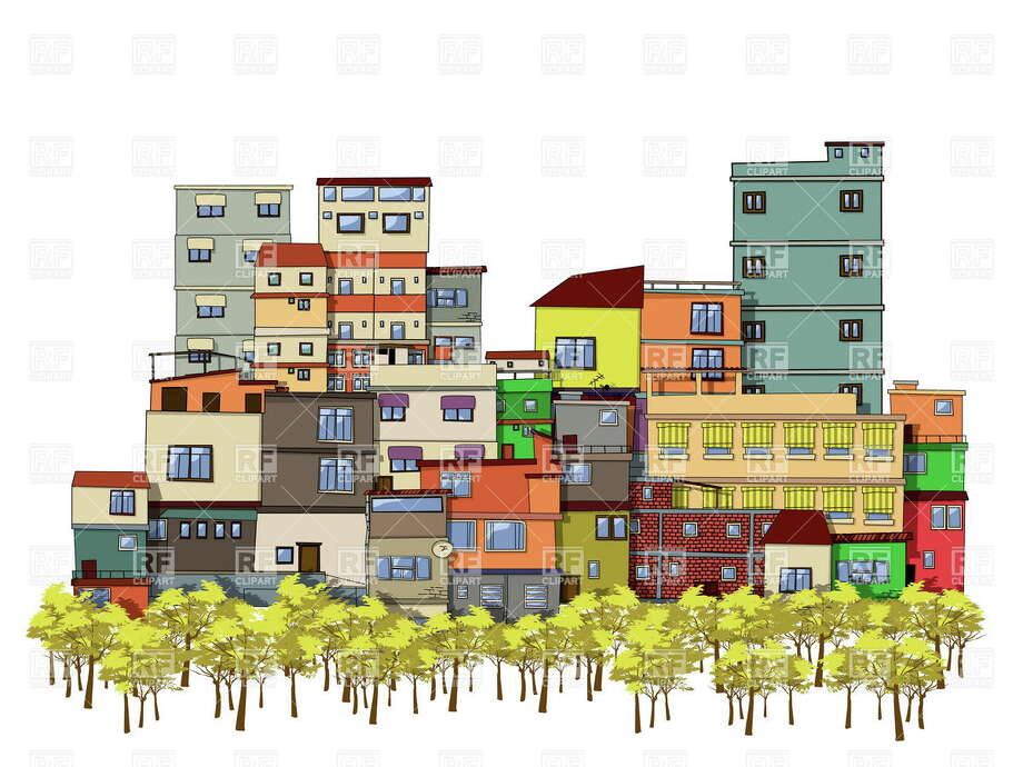 Cartoon drawing of a city with trees and houses Photo: Journal Register Co.