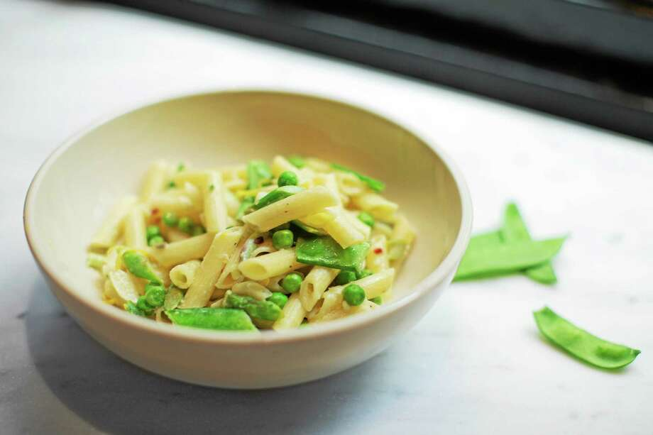 Chilled Penne Pasta With Asparagus and Peas. Photo: Kate Previte