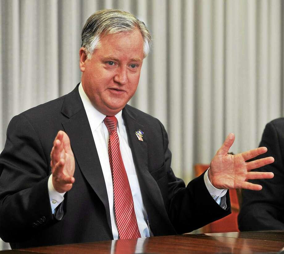 House Speaker Brendan Sharkey of Hamden speaks to the New Haven Register editorial board. Photo: Mara Lavitt — New Haven Register    / Mara Lavitt