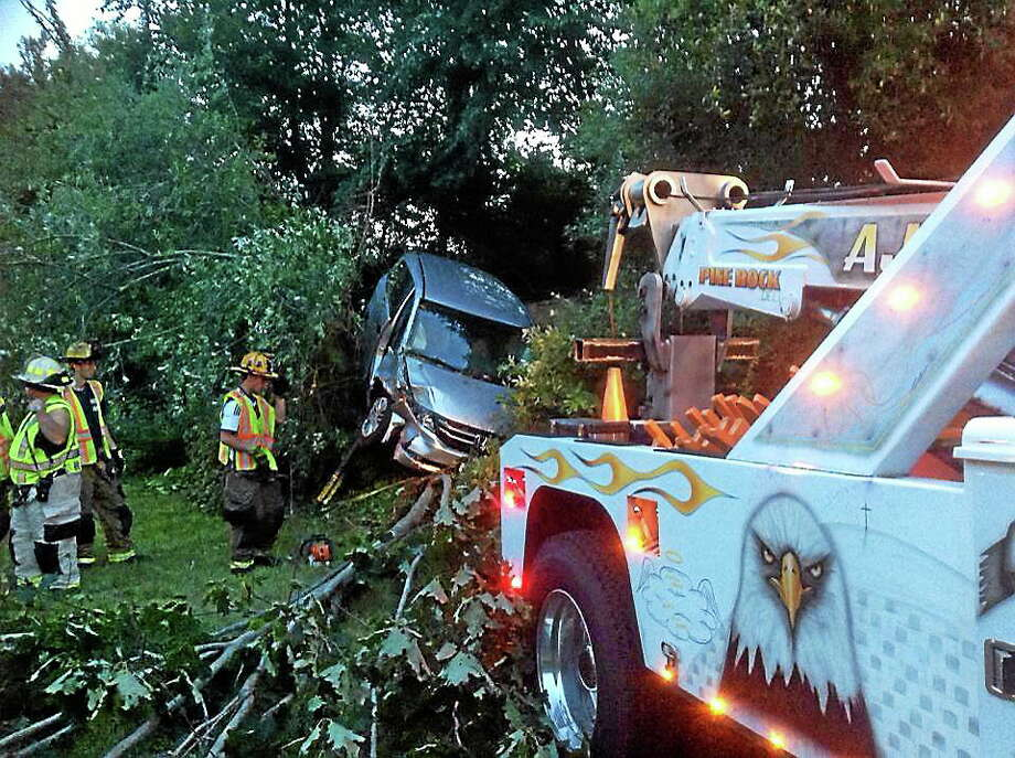 Rescue crews found two vehicles in the woods after a crash Tuesday on Route 8 in Shelton. Photo: Photo Courtesy Of Echo Hose Hook And Ladder Company 1