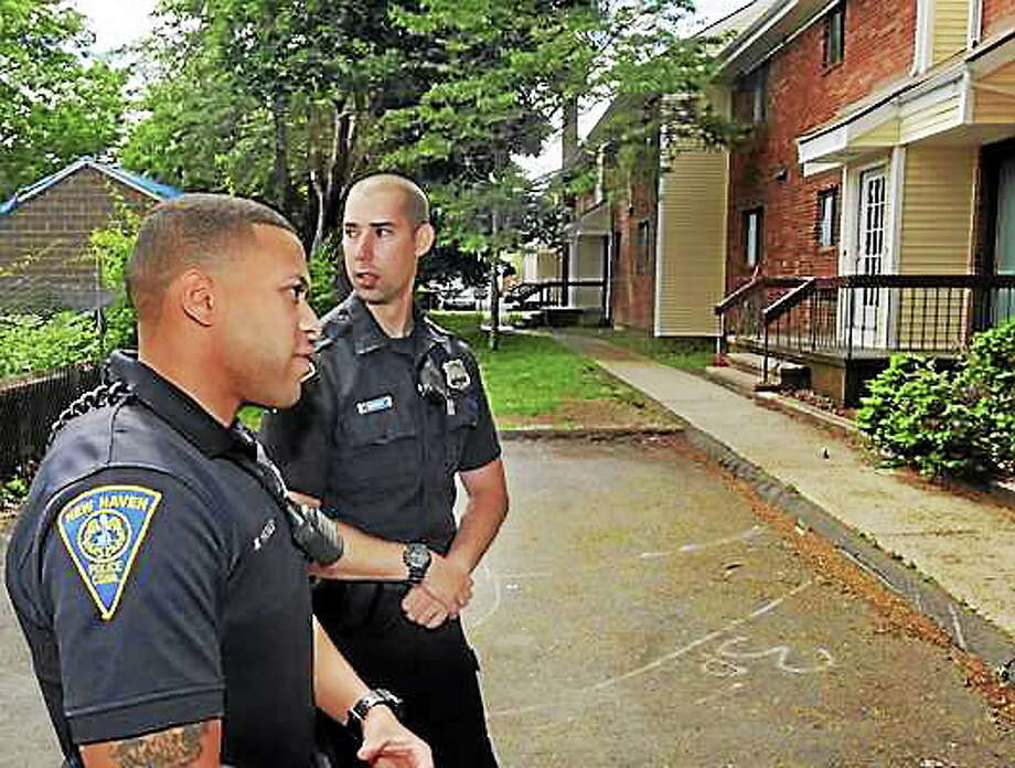 New Haven Police Officers, Michael Haines, left, and Brendan Borer in a file photo. Photo: Mara Lavitt — New Haven Register — File Photo