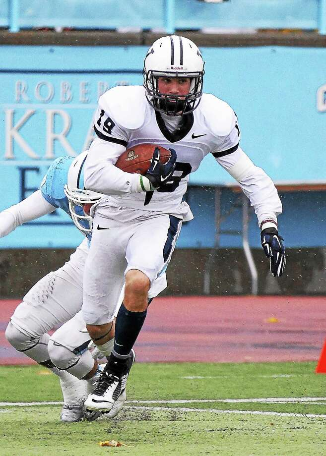 Yale freshman cornerback Jason Alessi made his first career start on Saturday at Columbia and picked off two passes in the Bulldogs' 25-7 win. Photo: Photo Courtesy Of Yale Athletics   / Copyright 2014 by Jack Warhola, all rights reserved.