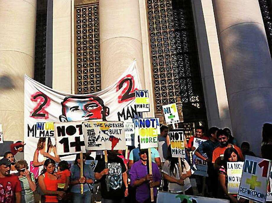 Protestors in New Haven Thursday. Photo: Keldy Ortiz/New Haven Register