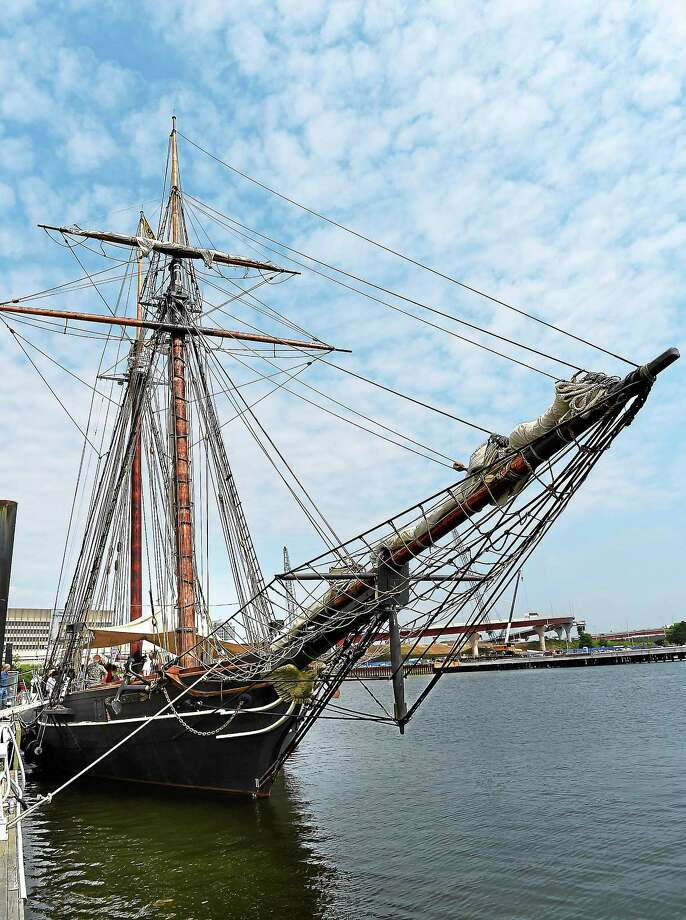 The Amistad is docked in New Haven Harbor during the homecoming ceremony July 2. The shiop will be in Long Island Sound for most of the summer, with many events and public trips planned. Photo: Peter Casolino — New Haven Register