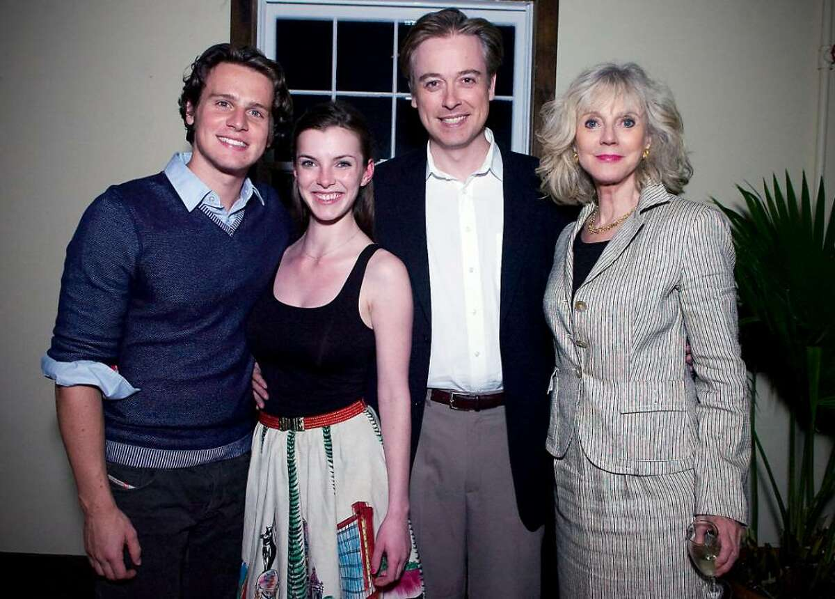 """From left, actors Jonathan Groff and Betty Gilpin, director Mark Shanahan and actor Blythe Danner at the post reception of """"Butterflies are Free"""" at the Westport Country Playhouse."""