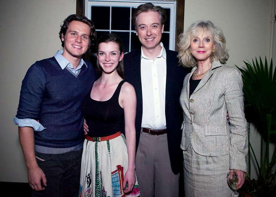 "From left, actors Jonathan Groff and Betty Gilpin, director Mark Shanahan and actor Blythe Danner at the post reception of ""Butterflies are Free"" at the Westport Country Playhouse. Photo: Kathleen O'Rourke / Stamford Advocate"