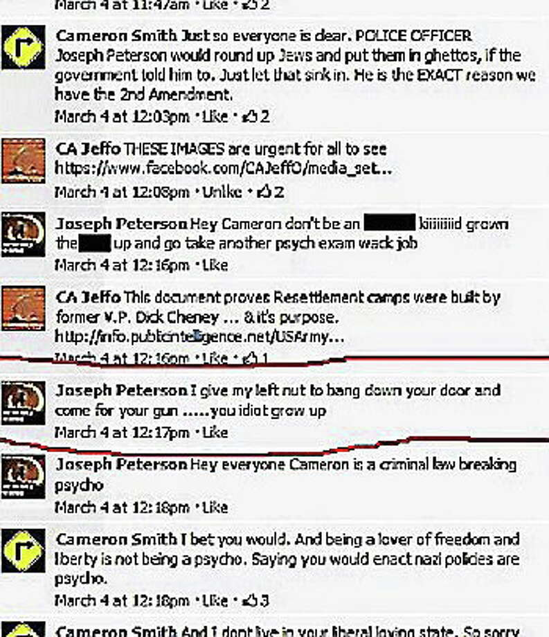 Screenshot of the Facebook exchange involving officer Joe Peterson that is under investigation. Photo: Journal Register Co.