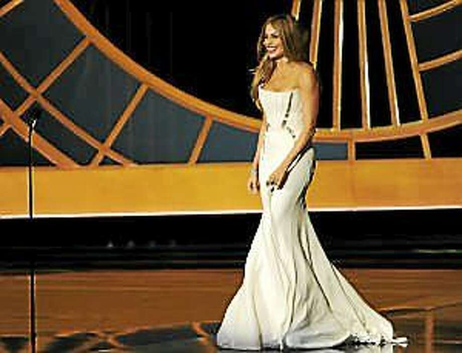 Sofia Vergara is seen on stage at the 66th Annual Primetime Emmy Awards at the Nokia Theatre L.A. Live on Monday, Aug. 25, 2014, in Los Angeles. Photo: (Chris Pizzello — The Associated Press) / Invision