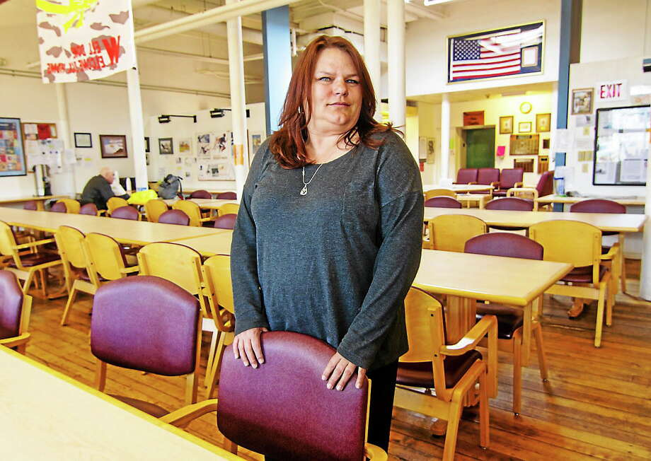 Veteran Cheryl Eberg now helps other veterans connect with services at the VA's Errera Community Care Center in West Haven. Photo: (Photo By Tony Bacewicz)