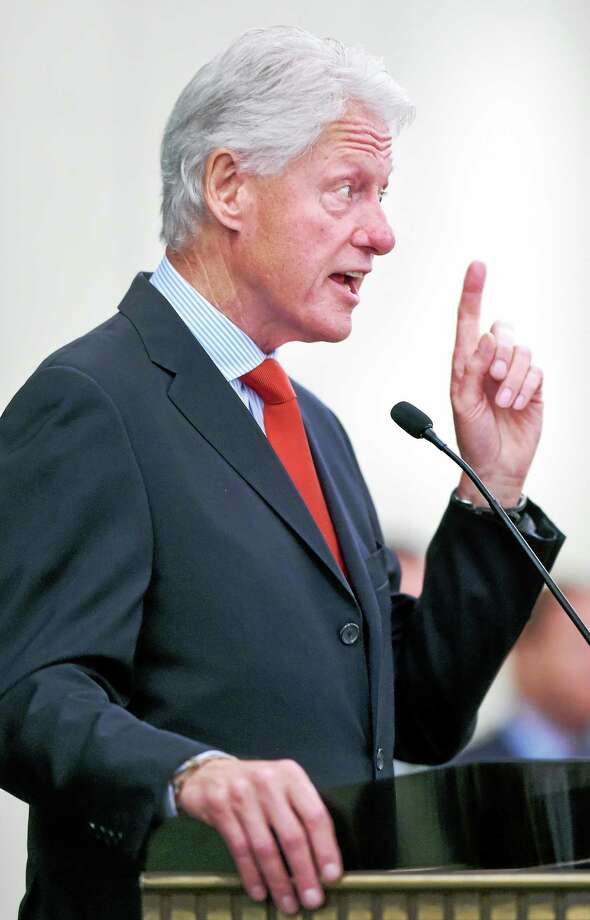 Clinton speaks Tuesday. Photo: Arnold Gold — New Haven Register