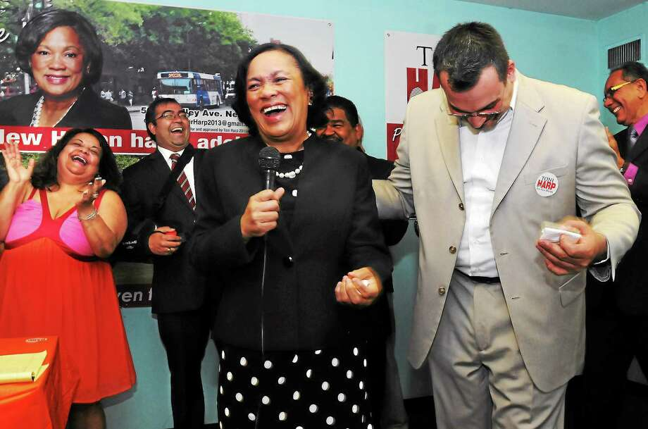 Mara Lavitt — Register ¬ On June 12, 2013 State Sen. Toni Harp was endorsed in her mayoral bid by leaders of New Haven's Latino community, including Alderwoman Migdalia Castro, left, and State Rep. Juan Candelaria, right, at the Fair Haven Elderly Apartments. ¬ Photo: Journal Register Co.