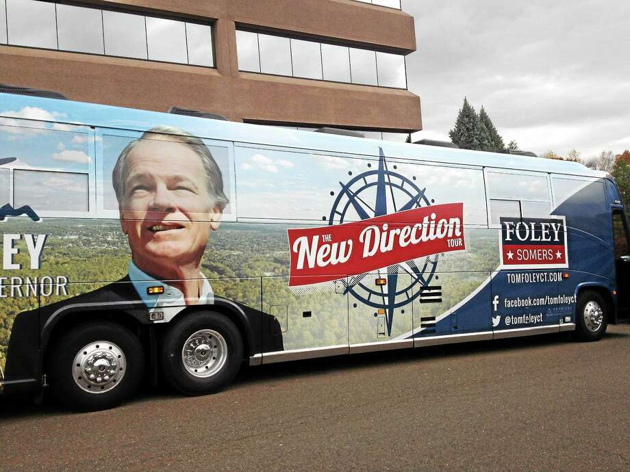 The Tom Foley campaign bus tour plan is to hit 25 towns through Monday. Photo: Journal Register Co.
