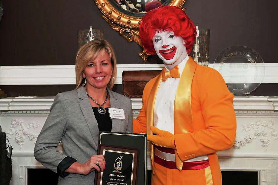 Contributed photo  Denise Chabot with Ronald McDonald. Photo: Journal Register Co. / (c)Nick Caito Photo