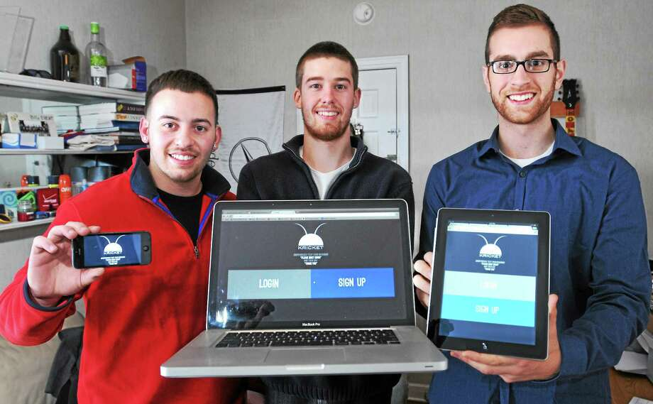 Quinnipiac students Stanley Martone, Connor Croteau and Tom Nassr have launched a website that they hope will ease tensions between college students and neighbors. Photo: Peter Casolino — New Haven Register