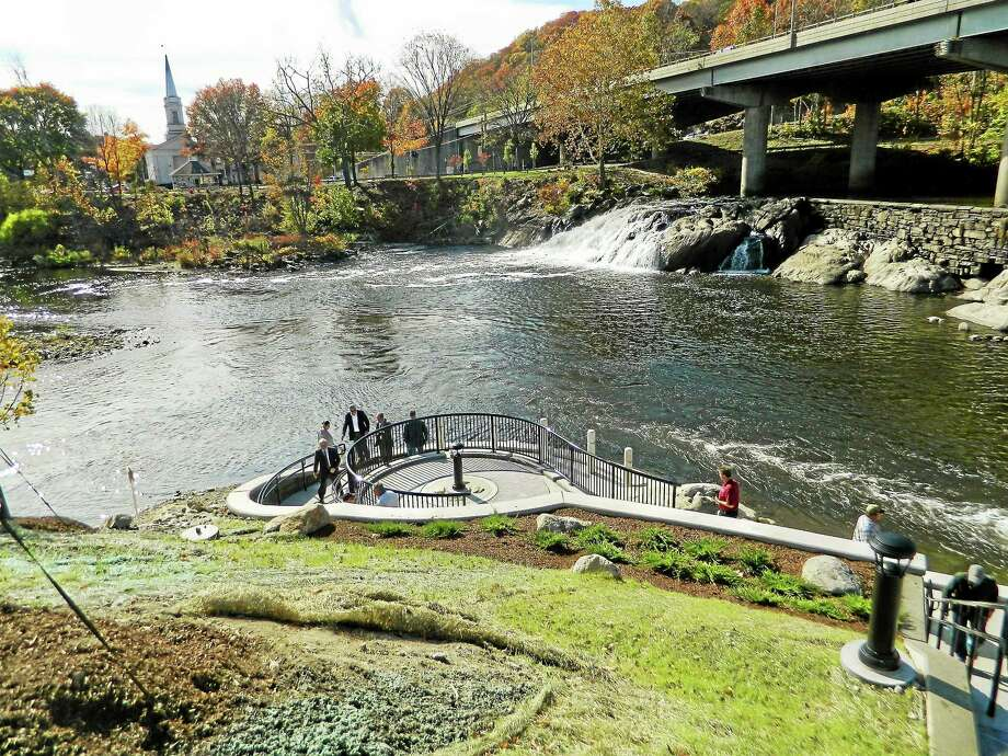 Residents and officials tour the Paul Pawlak Sr. Fish Bypass & Park at Tingue Dam. Photo: Jean Falbo-Sosnovich — New Haven Register