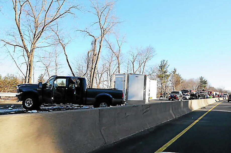 Aftermath of tractor-trailer accident and truck crash on Route 8 in Ansonia. Photo: Arnold Gold — New Haven Register