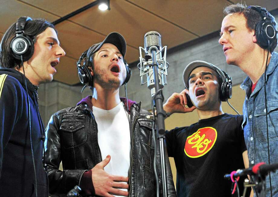 "(Mara Lavitt ó New Haven Register)   From left, ""Paper Bullet"" actors  Lucas Papaelias, Bryan Fenkart, James Barry and David Wilson Barnes, rehearse a song for recording and use in the production this week. Photo: Journal Register Co. / Mara Lavitt"