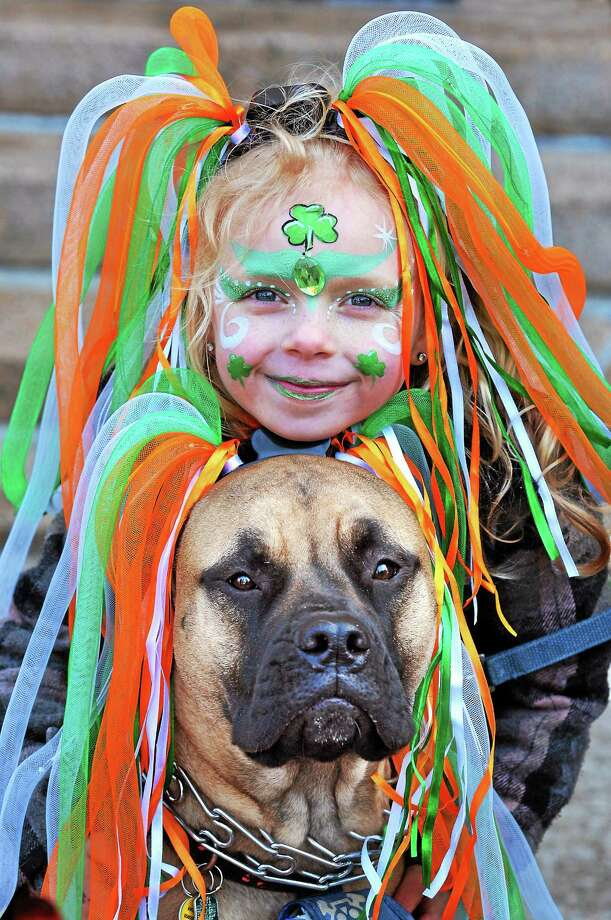 """New Haven--  Grace Wilson, 7, waits for the parade with her Bull Mastiff, """"Macie"""" along Church Street. They are from New Haven.  Photo-Peter Casolino Photo: Journal Register Co."""
