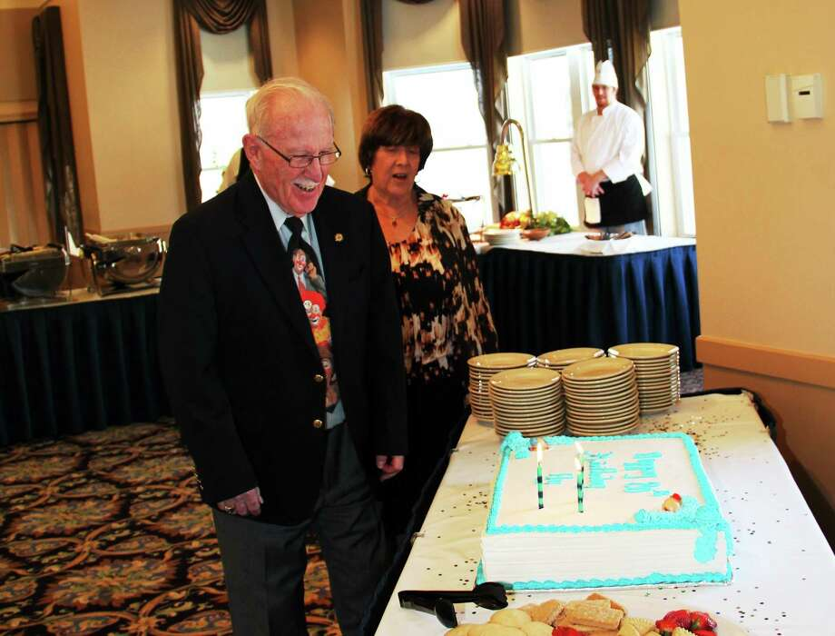 Hy Katz and his wife, Karol, at Katz's 80th birthday gala in Wallingford. Photo: CONTRIBUTED PHOTO — STUART KATZ