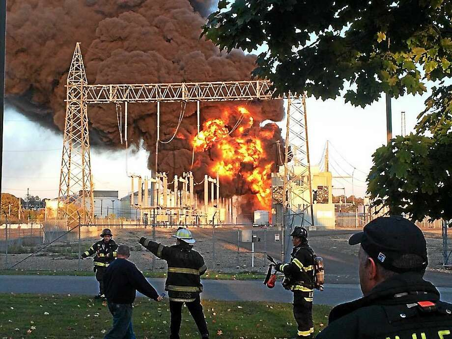 New Haven firefighters respond to a blaze at the Halvarsson Converter Station. (Photo via @NewHavenFire on Twitter) Photo: Journal Register Co.
