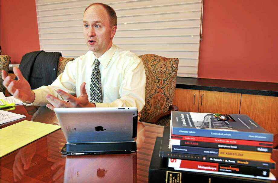 New Haven lawyer Christopher Meisenkothen represents a group of Italian asbestos victims requesting that Yale rescind a 1996 honorary degree to Stephan Schmidheiny. Photo: Mara Lavitt — New Haven Register     / Mara Lavitt