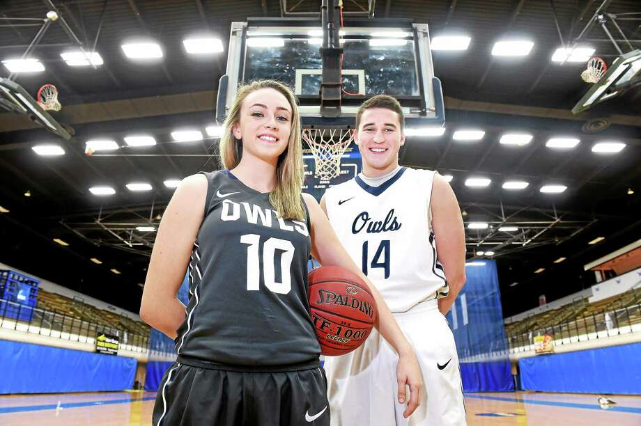 Southern Connecticut State basketball players Nicole Grossbard and Luke Houston. Photo: Arnold Gold — Register