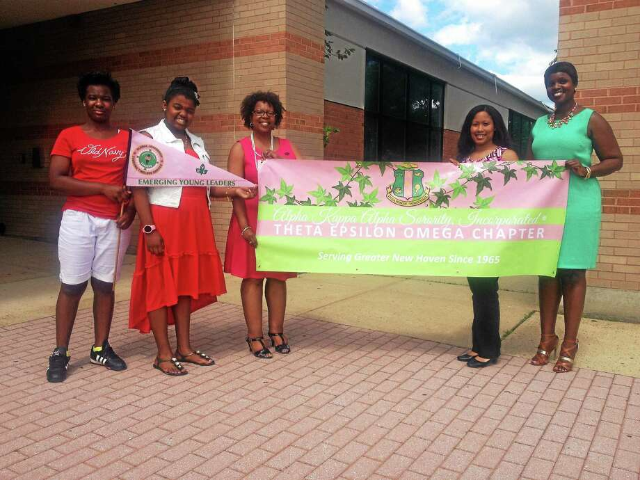 Alpha Kappa Alpha Sorority, Inc. Theta Epsilon Omega New Haven chapter members. L-to-R: Ny'Aysa Moye, Tanaiza Glass, who is 12, Sondi Jackson, Taryn Anderson and Nicole Murphy Photo: Journal Register Co.