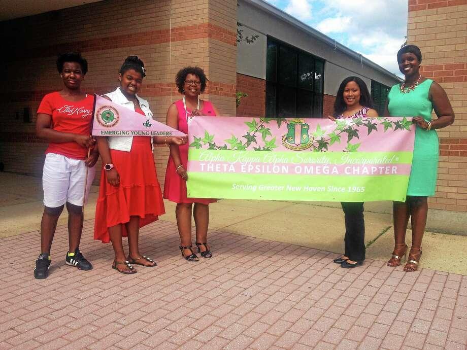 Alpha Kappa Alpha Sorority, Inc. Theta Epsilon Omega New Haven chapter members. L-to-R: Ny'Aysa Moye, Tanaiza Glass, who is 12, Sondi Jackson, Taryn Anderson and Nicole Murphy Photo: Journal Register Co.