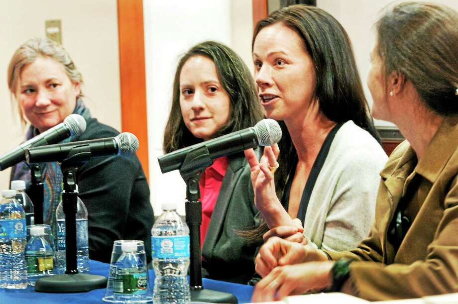 """Left to right: Laura Niklason, founder of Humacyte; Jennifer Staple- Clark, founder of United for Sight; Barbara Bush, CEO of Global Health Corps; and moderator, Georgia Levenson Keohane, of the Roosevelt Institute, at a panel discussing """"Women in Innovation: Leading Yale Women in Social and Health Startups"""" at the Yale School of Public Health Monday. Photo: Melanie Stengel — New Haven Register   / PETER HVIZDAK"""