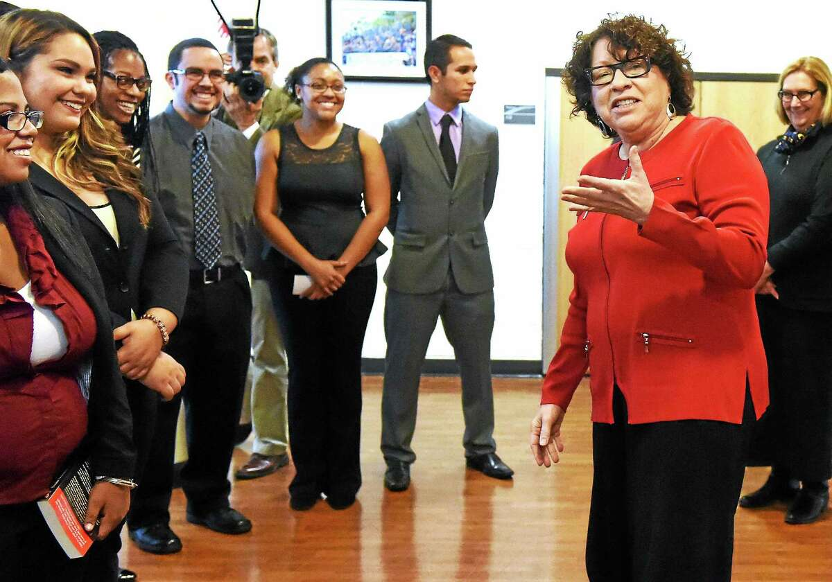 Supreme Court Justice Sonia Sotomayor talks with presidents of University of New Haven student organizations involved in the legal studies program and the Henry C. Lee College of Criminal Justice and Forensics during a visit to the University of New Haven Friday in West Haven.