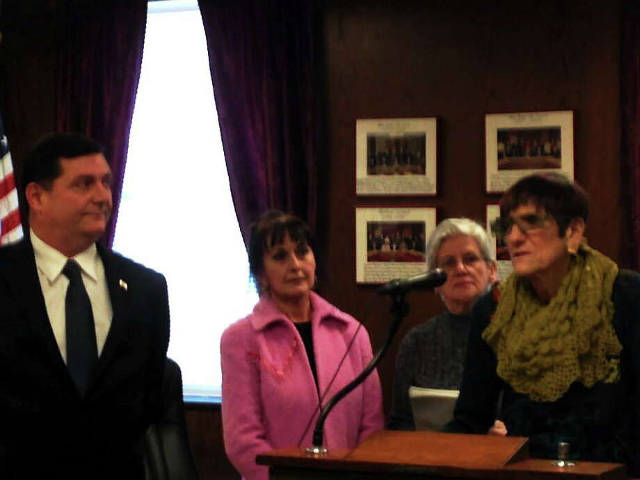 Announcing a $2.6 million grant for West Haven floodplain restoration are, from left, Mayor Edward O'Brien, Sharie Roy and Connie Eberle of Third Avenue Extension and U.S. Rep. Rosa L. DeLauro, D-3. Photo: PHOTO COURTESY ROSA DELAURO'S OFFICE