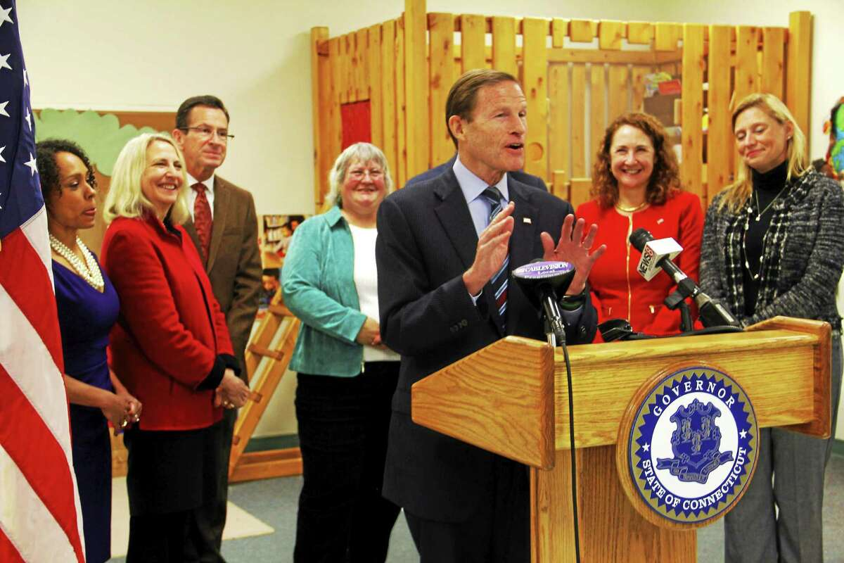 Sen. Richard Blumenthal address media during a press conference on Friday, Dec. 19, at the Torrington Child Care Center. Blumenthal joined federal and local representatives in applauding $12.5 in federal funding to help expand preschool services in the state. Esteban L. Hernandez Register Citizen