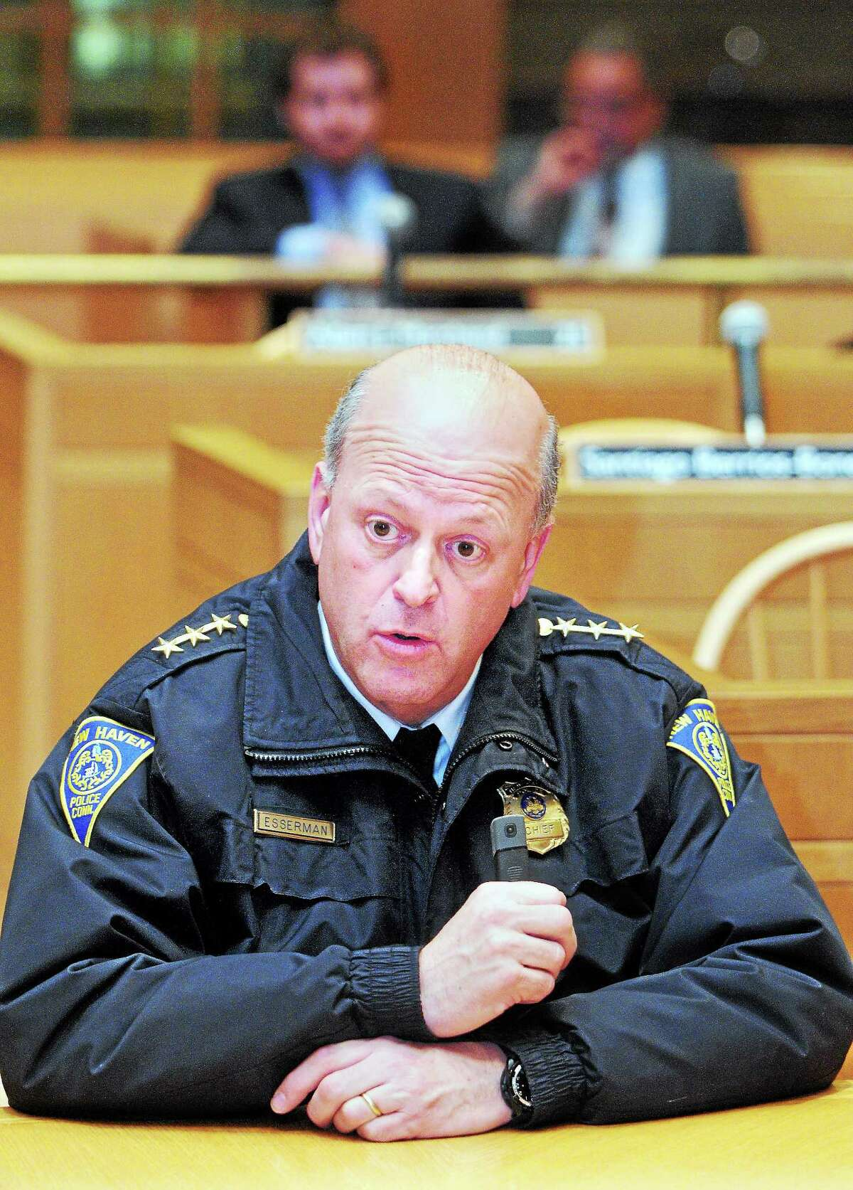 New Haven Police Chief Dean Esserman appears before the Aldermanic Affairs Committee at City Hall in New Haven Monday. Esserman explained his goals for the department in the coming years should he be reappointed chief, as the panel weighed whether to recommend extending his contract. See story, XX
