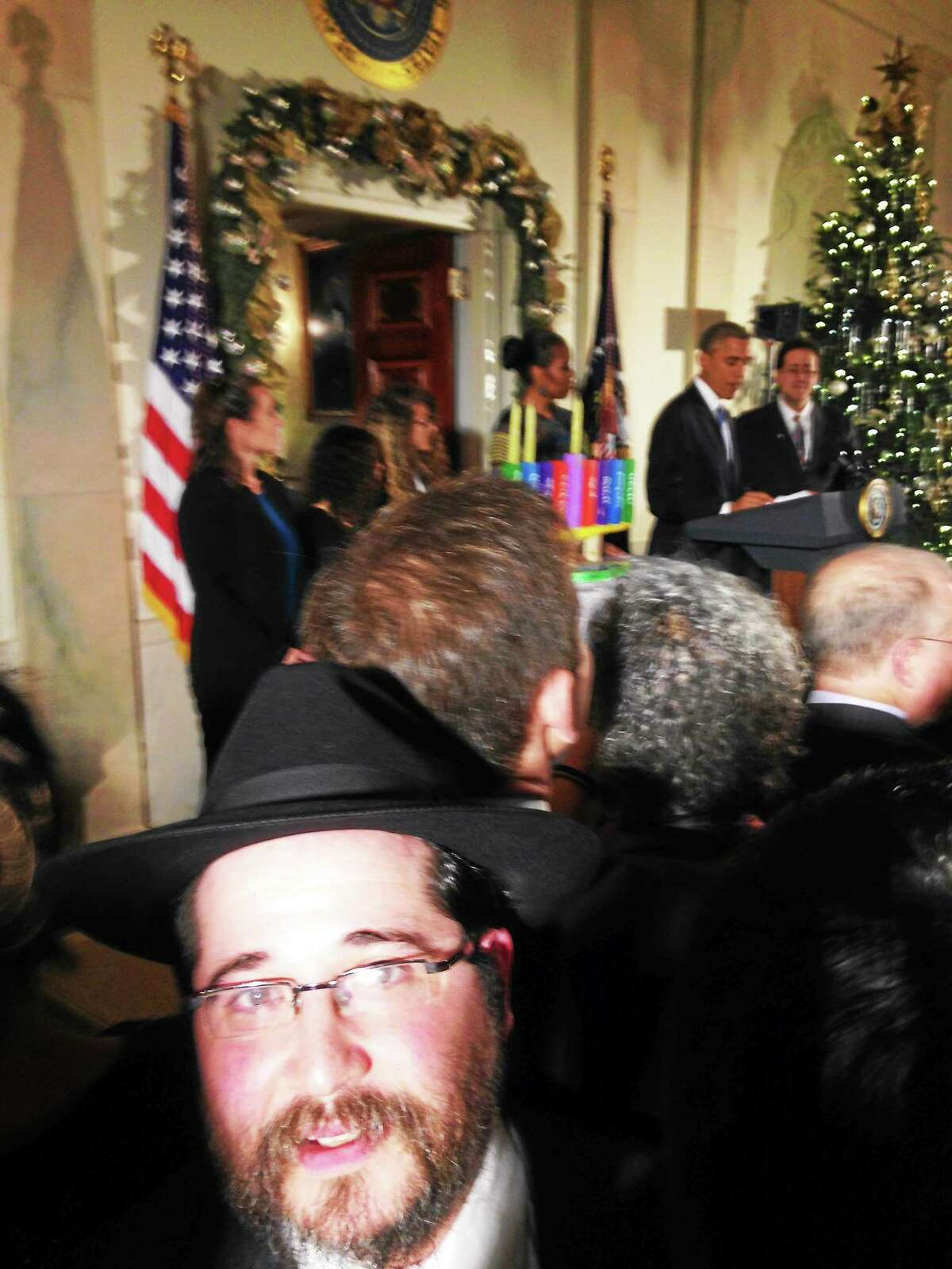 Rabbi Shua Rosenstein of Chabad at Yale visits the White House for a Hanukkah celebration hosted by President Barack Obama and first lady Michelle Obama.