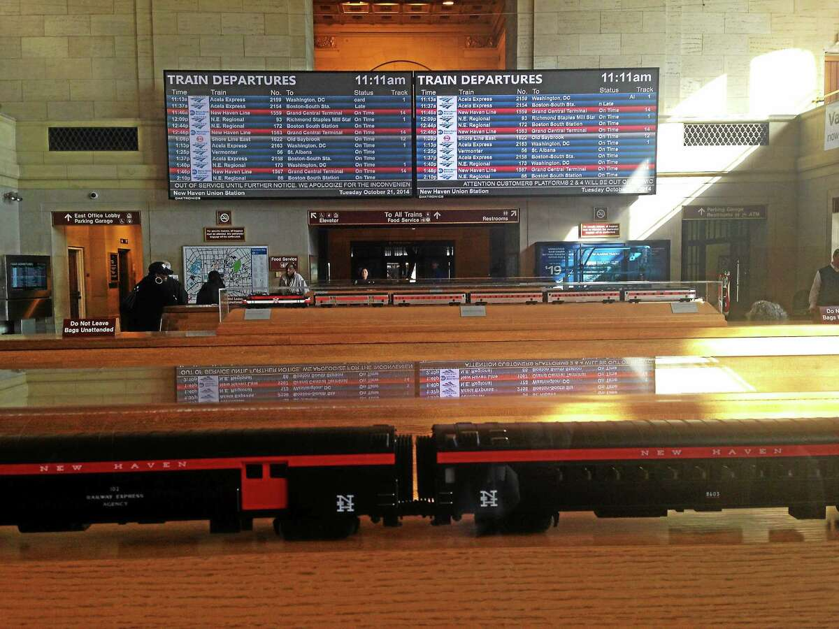 The new schedule boards recently installed at Union Station in New Haven.