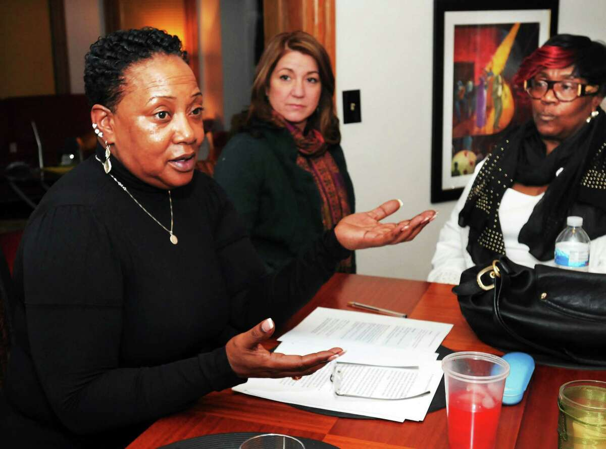 From left: Claudette Robinson-Thorpe (Ward 28), Anna Festa (Ward 10, and Brenda Foskey-Cyrus (Ward 21) talk about inclusivness on the Board of Alders Sunday.