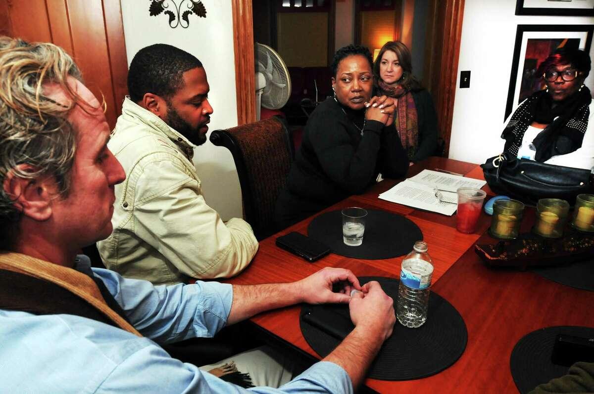 From left: New Haven Alders Michael Stratton (Ward 19), Carlton Staggers (Ward 30), Claudette Robinson-Thorpe (Ward 28), Anna Festa (Ward 10) and Brenda Foskey-Cyrus (Ward 21) discuss the need for a more inclusive board.