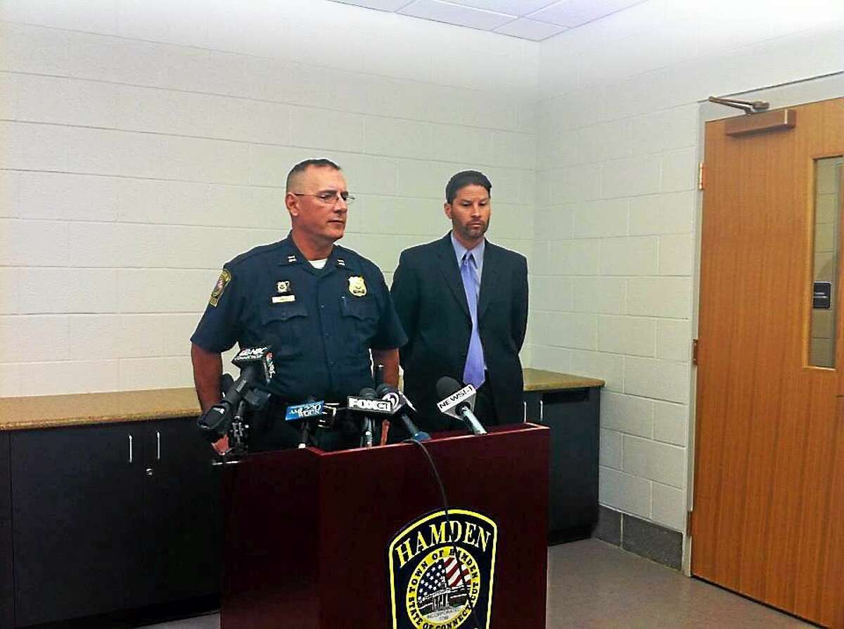 Police Capt. Ronald Smith and Chief Thomas Wydra provide an update Monday on the fatal shooting of Larry Dildy, who was killed in Hamden Sunday afternoon.