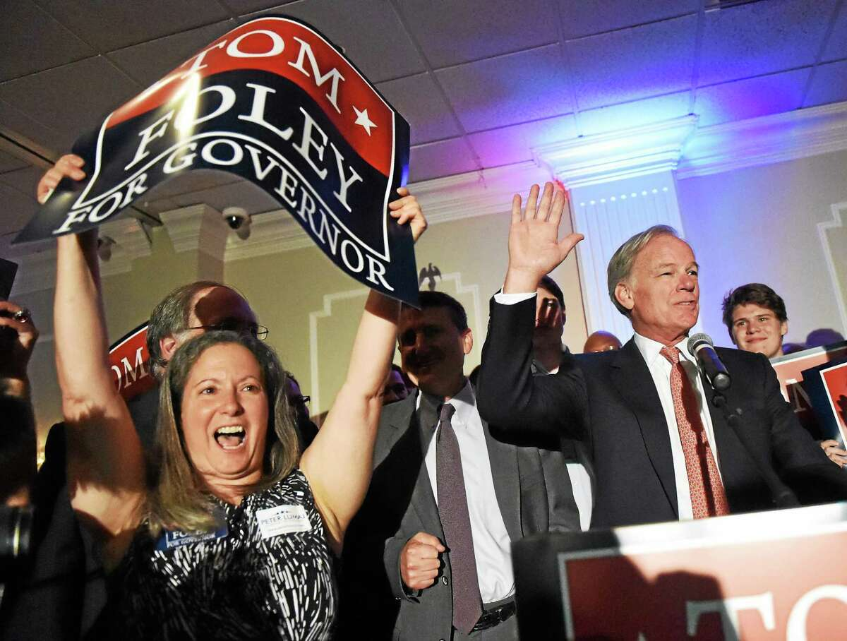 Tom Foley, endorsed by the Connecticut GOP, speaks to supporters at the Villa Rosa Pontelandolfo Club in Waterbury, Connecticut Tuesday evening, August 12, 201 after defeating Connecticut State GOP Primary against State Senate Minority Leader John McKinney.