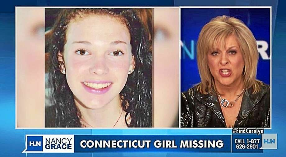 Carolyn Lindsey is seen at left in a screenshot from the Nancy Grace show segment on the missing Connecticut teens. Photo: Journal Register Co.