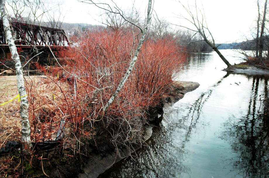 A view of the Housatonic and Naugatuck River meeting at O'Sullivan Island Recreation Park in Derby on Sunday. Photo: (Arnold Gold/New Haven Register)