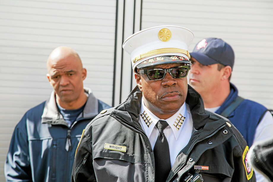 NEW HAVEN REGISTER Fire Chief Allyn Wright speaks about new community outreach initiative. Photo: Journal Register Co.