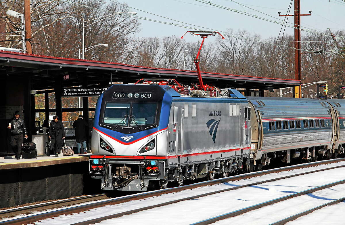 One of Amtrak's new ACS-64 electric locomotives, also known as the Cities Sprinter is pictured on its first run in regular service, from Boston to Washington on Feb. 7, 2014.