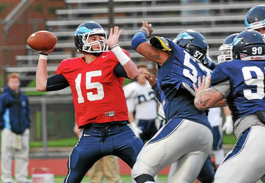 Southern Connecticut State quarterback Brandon Basil throws long during the Owls' spring game in April. Photo: Register File Photo