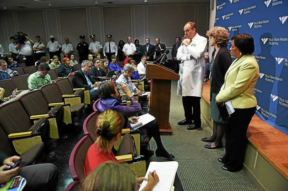 Dr. Thomas Balcezak, Chief Medical Officer for Yale-New Haven Hospital, answers questions during a press conference at the Yale School of Medicine concerning a patient who had visited Liberia showing a possible symptom of the Ebola virus on 10/16/2014. agold@newhavenregister.com  Photo by Arnold Gold/New Haven Register Photo: Journal Register Co.
