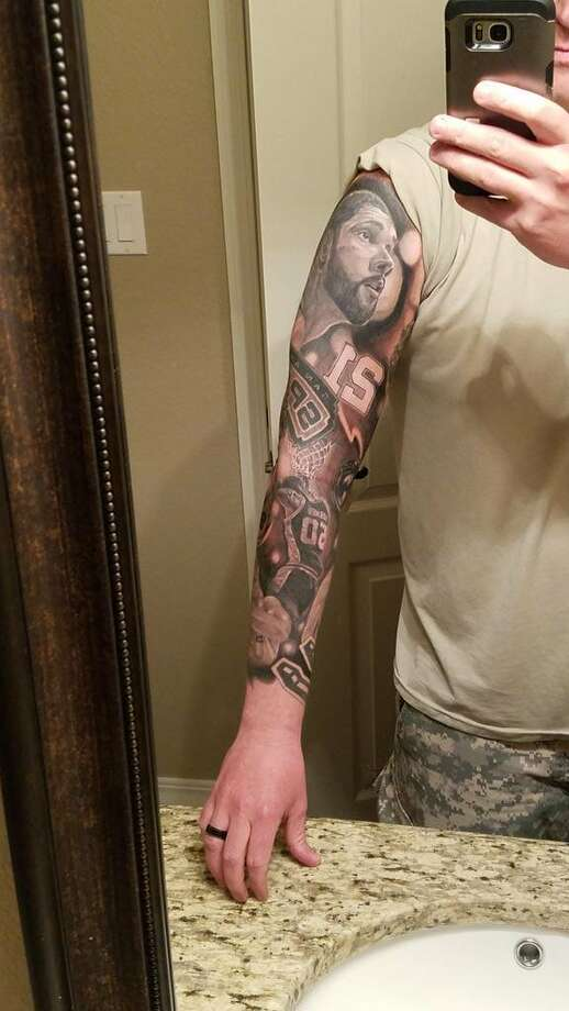 """Spurs fan Chuck Little spent six months and $2,400 on his tattoo, what he calls a """"snapshot of the Tim Duncan Era."""" Photo: Courtesy, Chuck Little"""