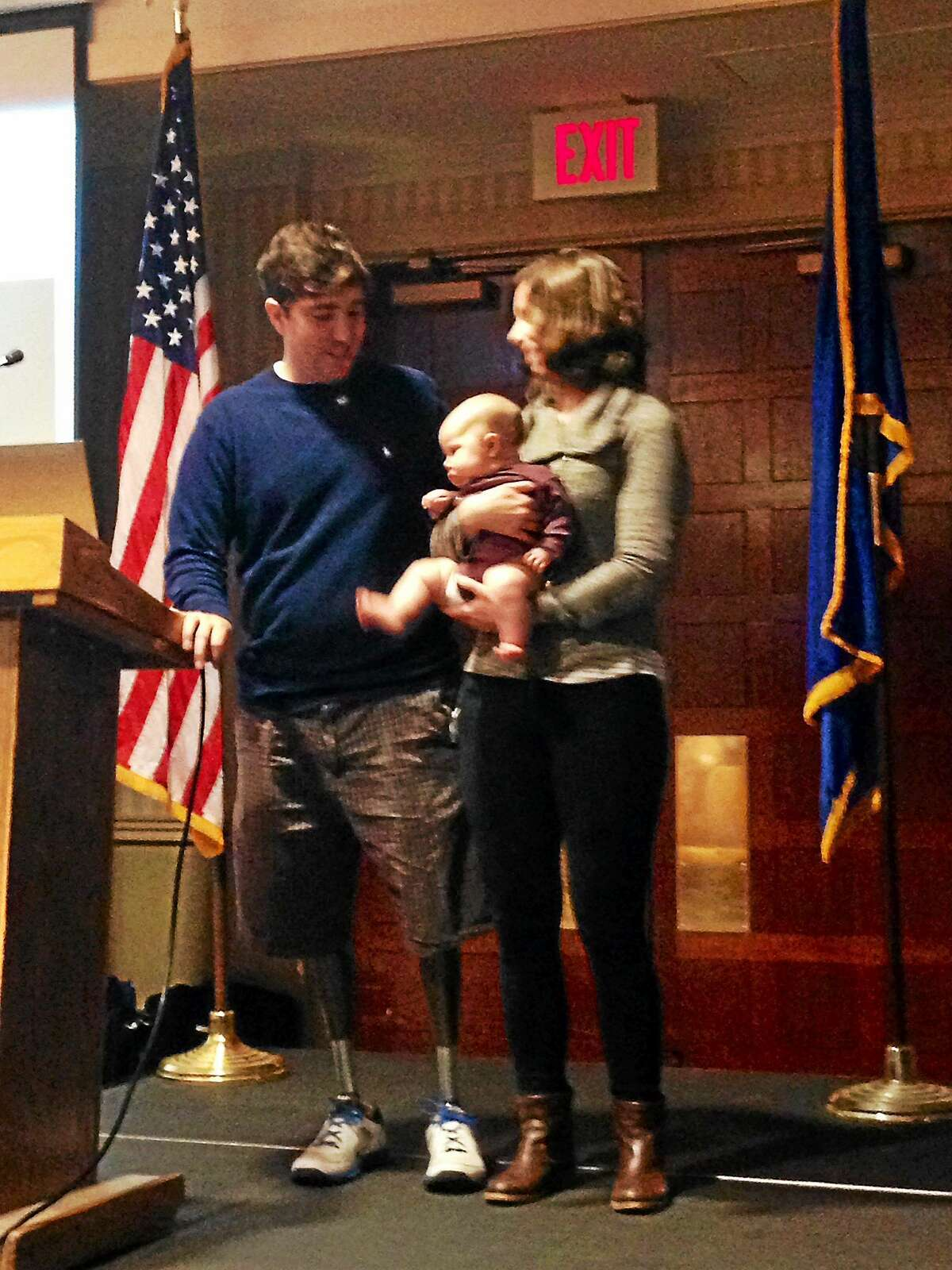 Boston Marathon bombing survivor Jeff Bauman speaks at the Connecticut Citizens Corps Council's 7th Annual Conference Thursday. The 28-year-old lost both legs in the bombings.